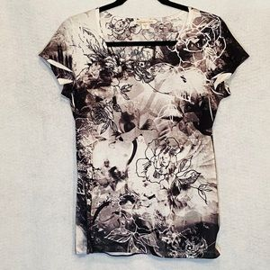 Coldwater Creek Small Top Shirt White Black Floral